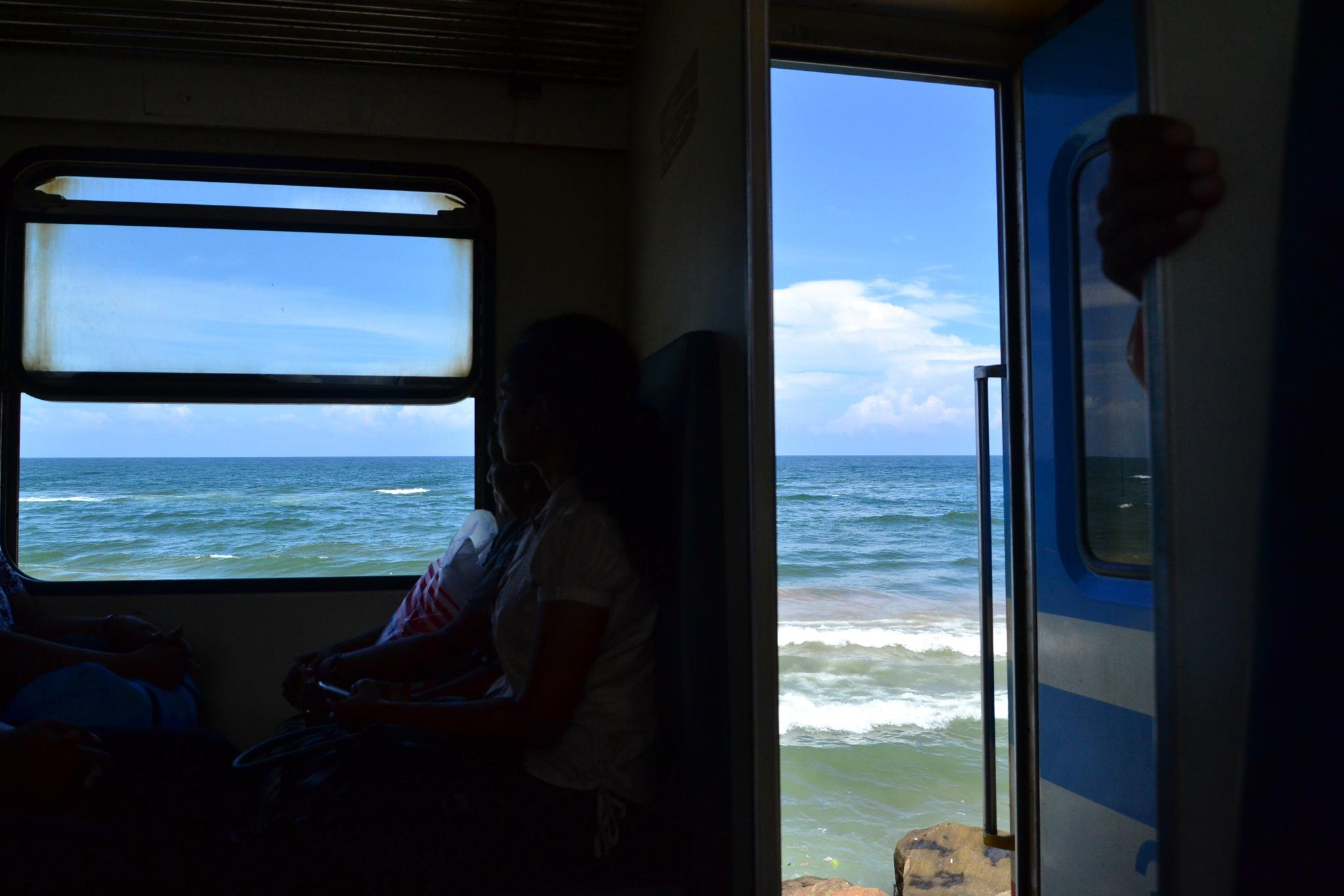 Rail travel on the Colombo-Galle Line in Sri Lanka