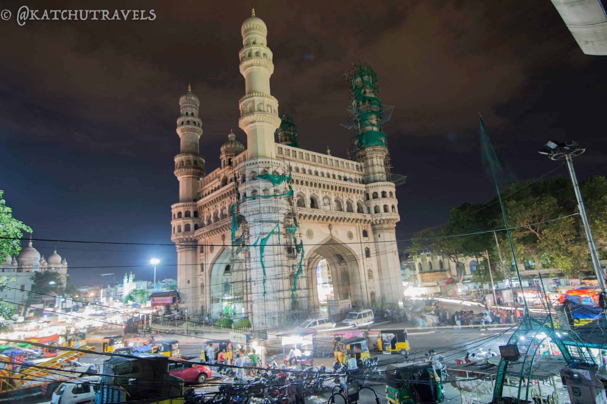 The Charminar shines through the night