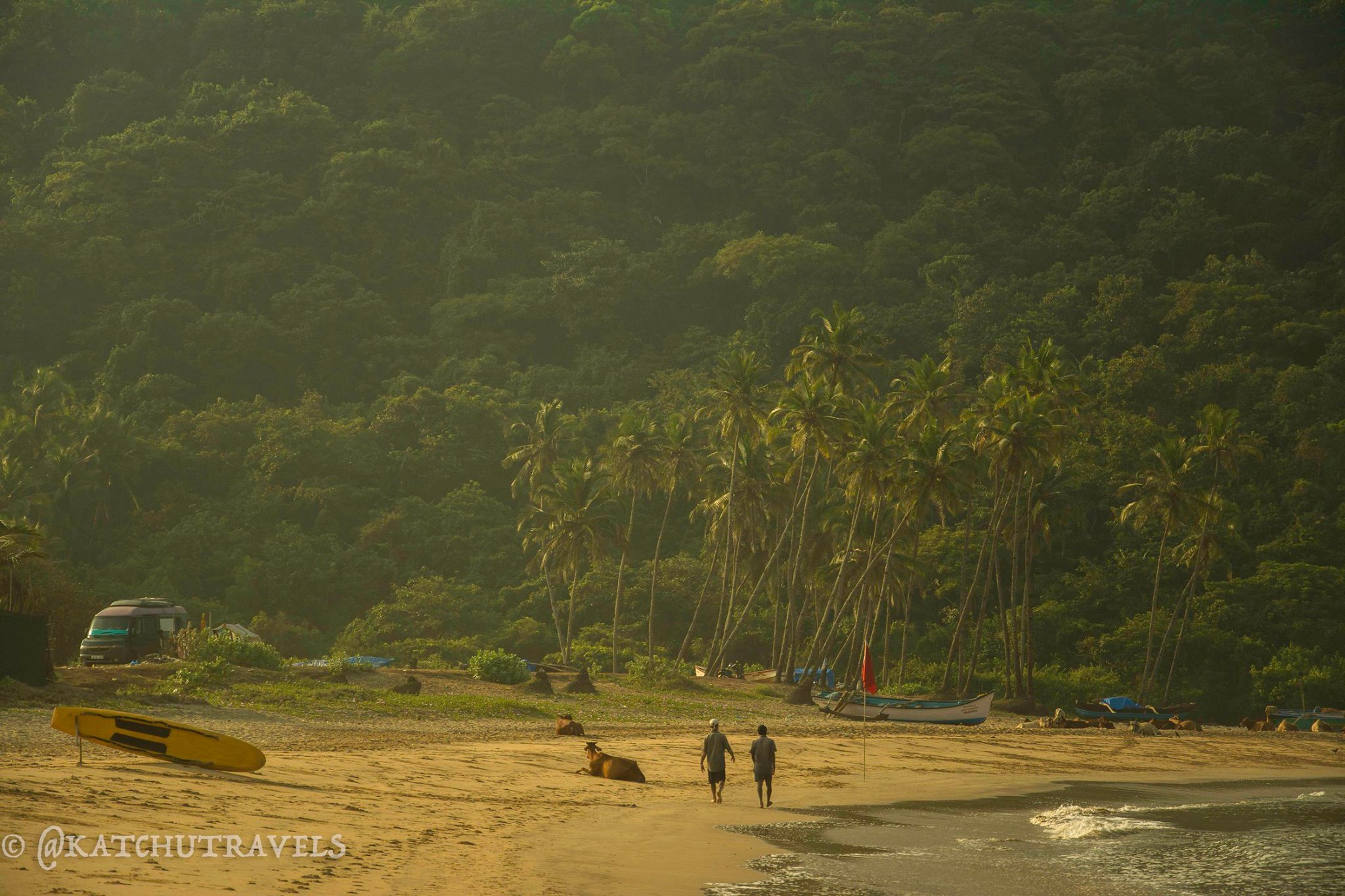Taking a sunrise walk along the expanse of Agonda Beach in Goa