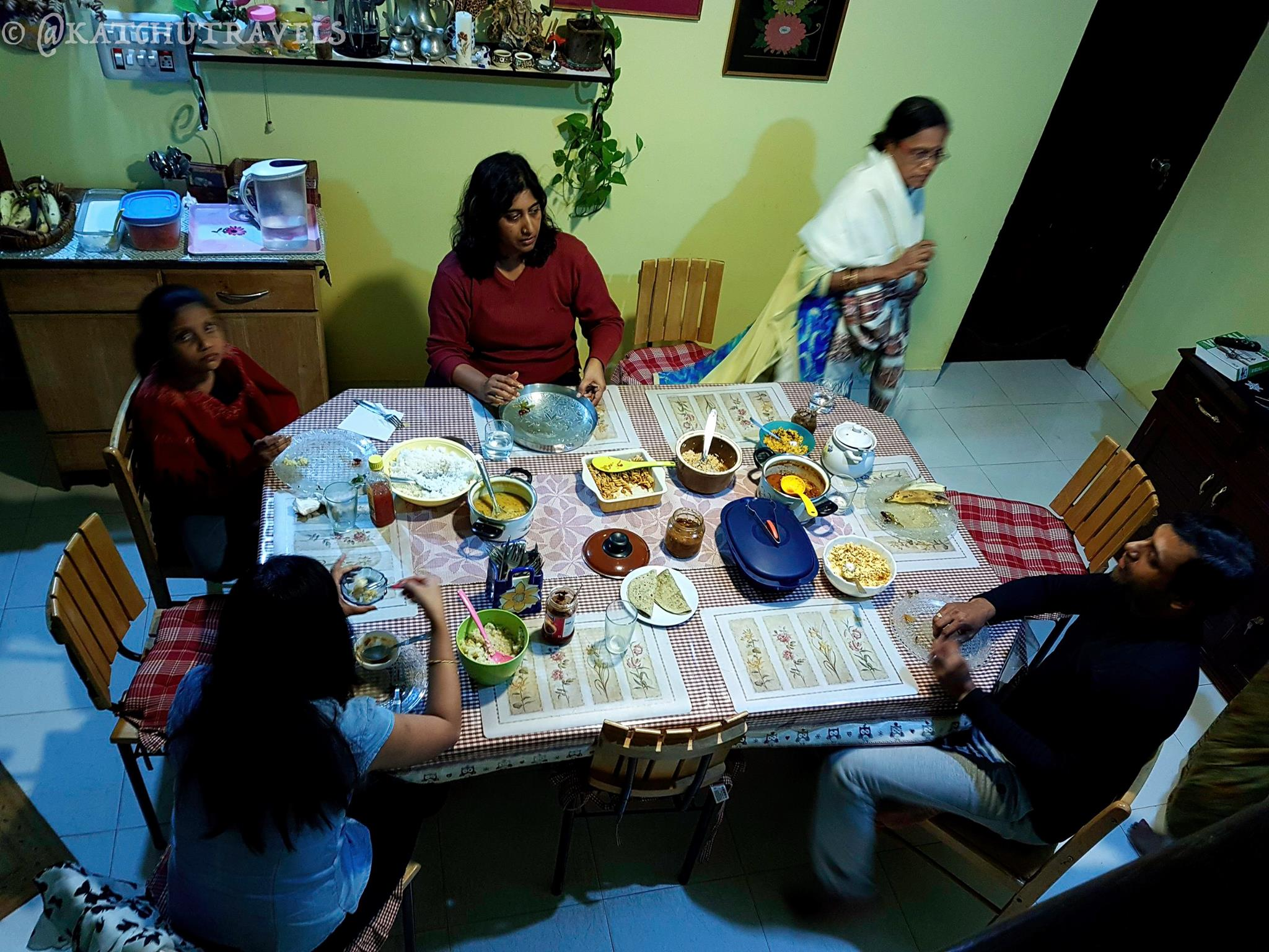 At the dinner table at Jagale Homestay