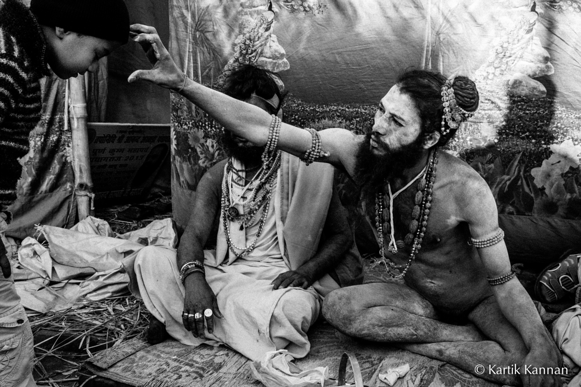 Naga Babas blessing people at the Mahakumbh Mela in Allahabad
