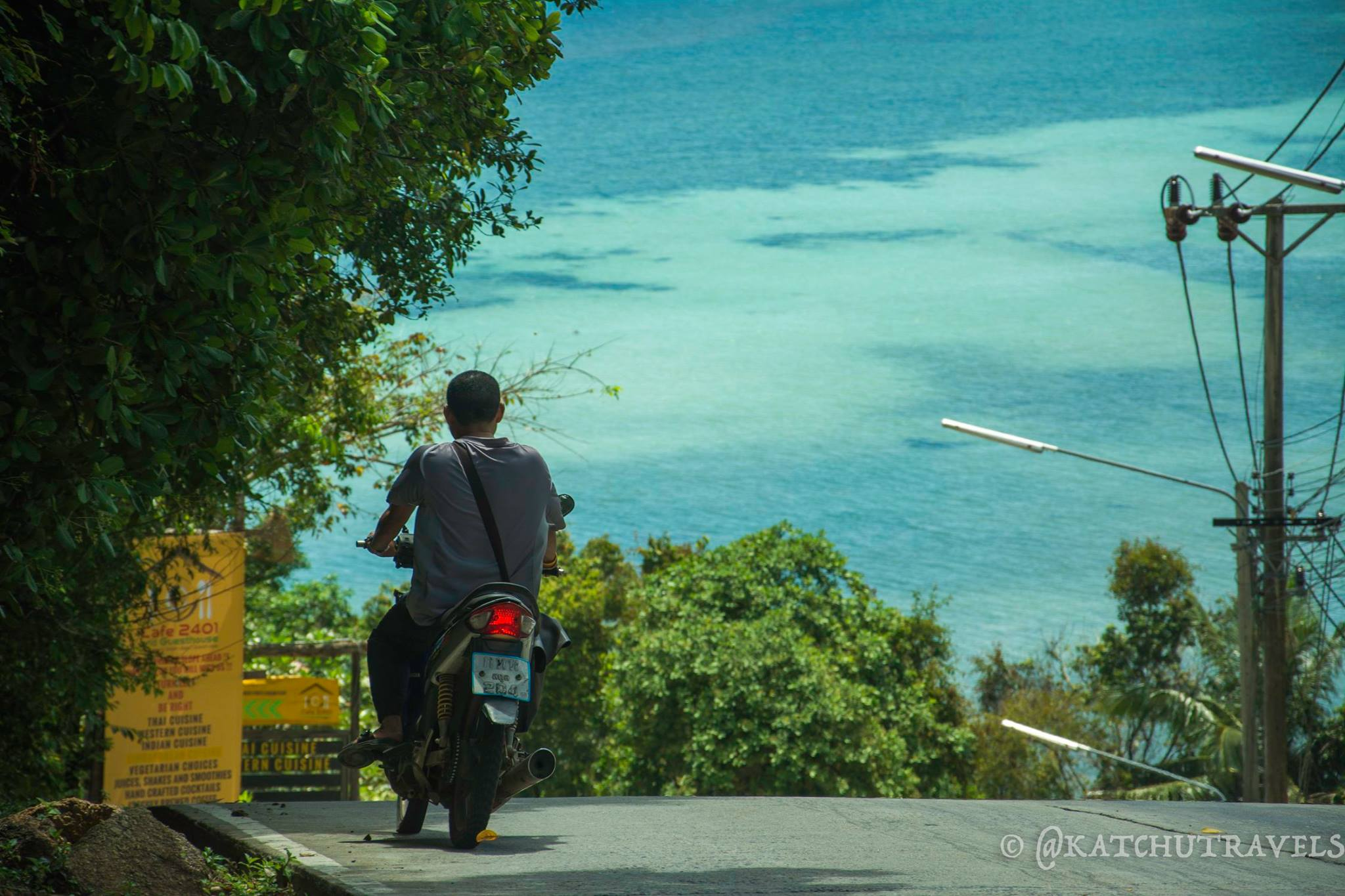 Driving in Koh Phangan With a View of the Sea
