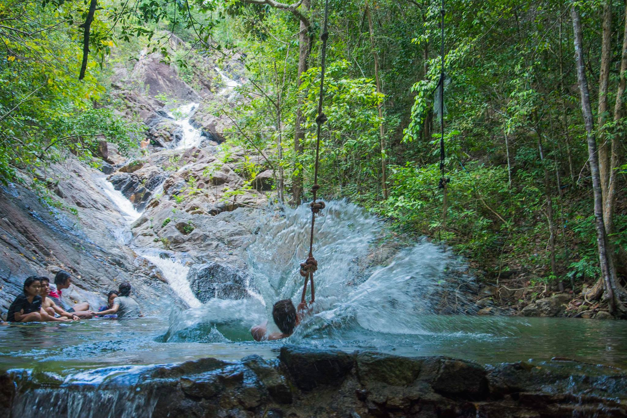 Playing in the waters of 'Paradise Waterfall'-Thailand