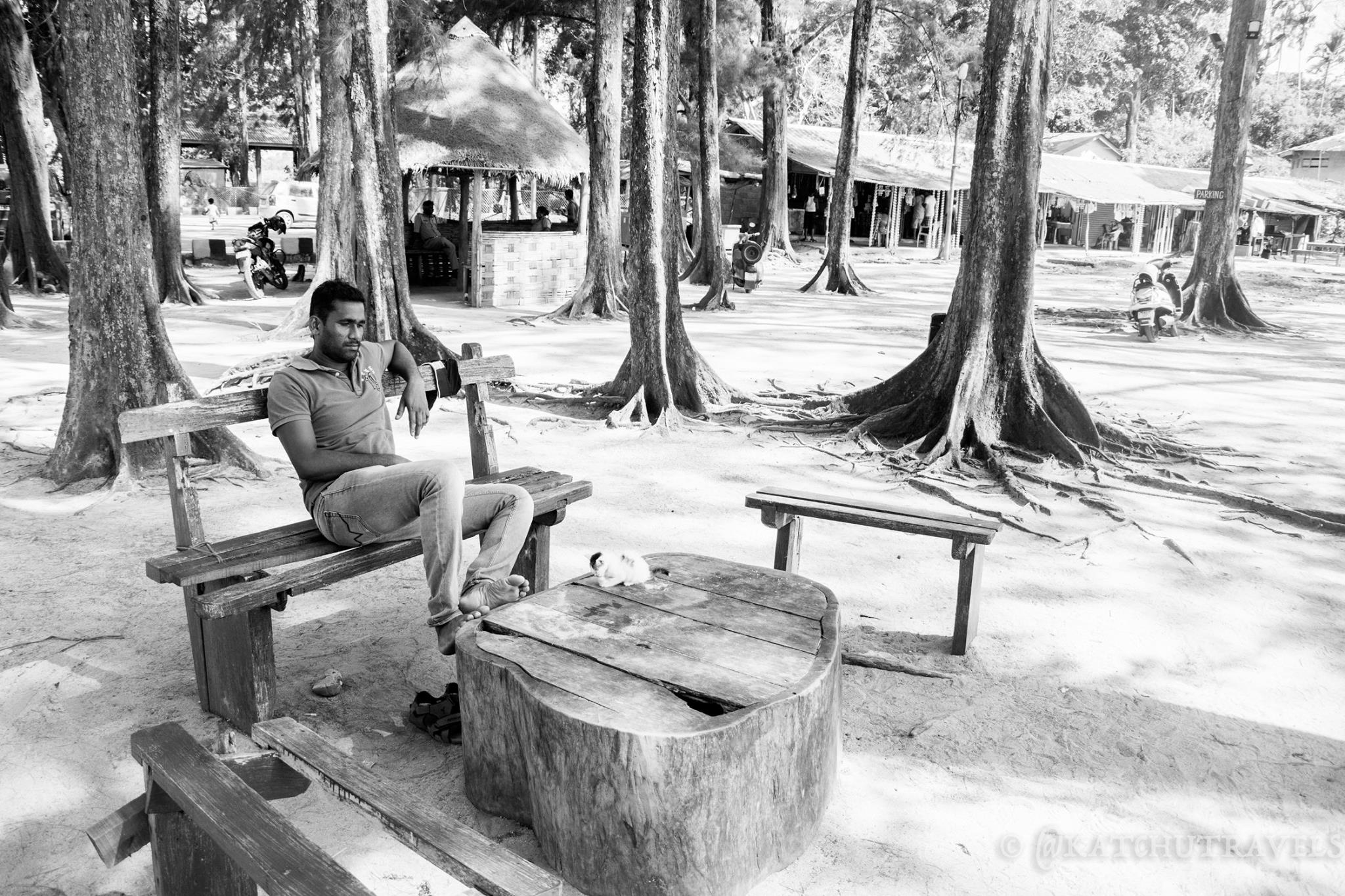 Our Host-Kumar resting by the woods at Wandoor-Andaman Islands