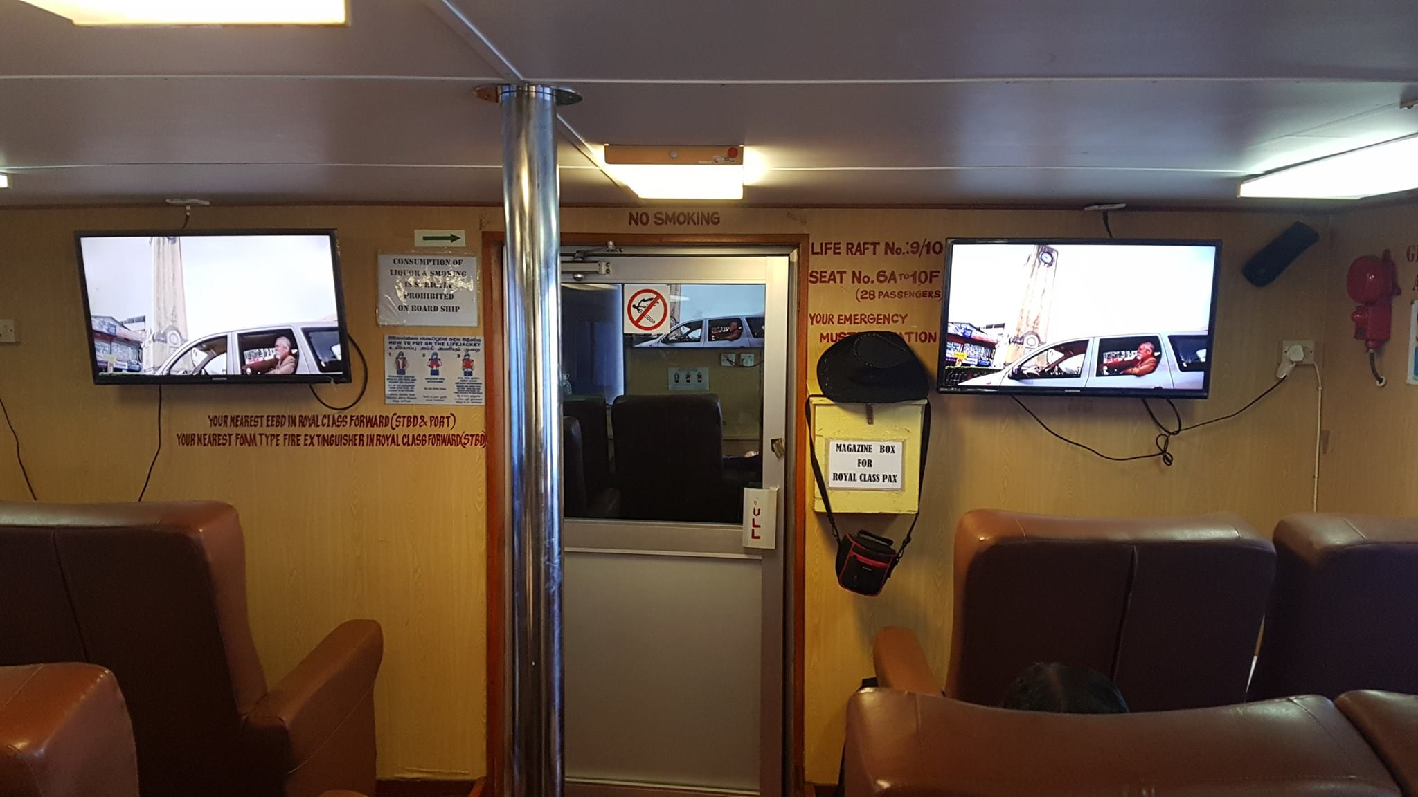 The Air-Conditioned cabin of the Green Ocean ferry from Portbair to Havelock Islands [Andaman Islands-India]