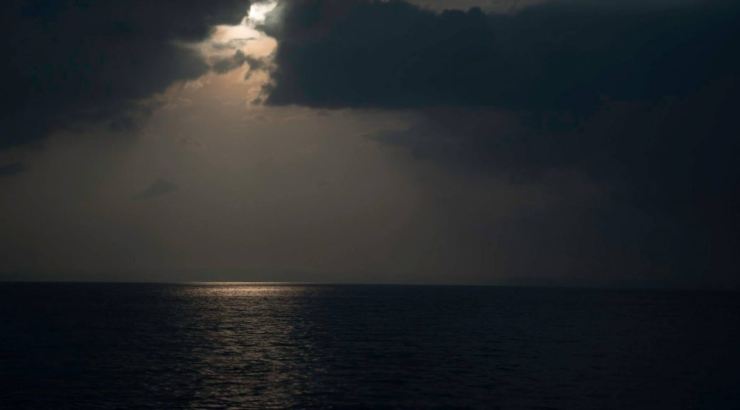 Sun shining on a patch of the Andaman Sea- as seen from the ship