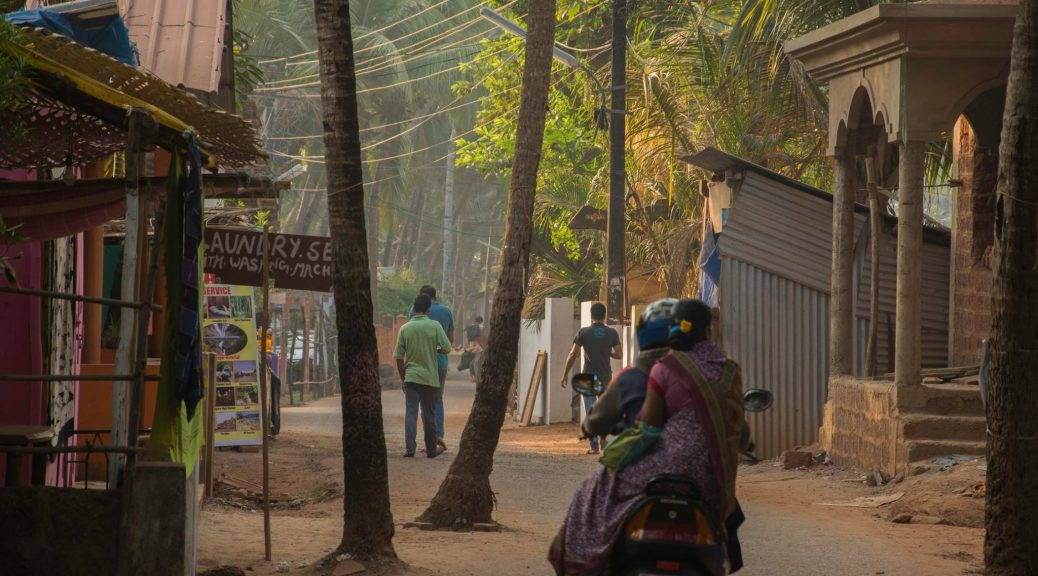 The streets of Agonda Village in South Goa (India)