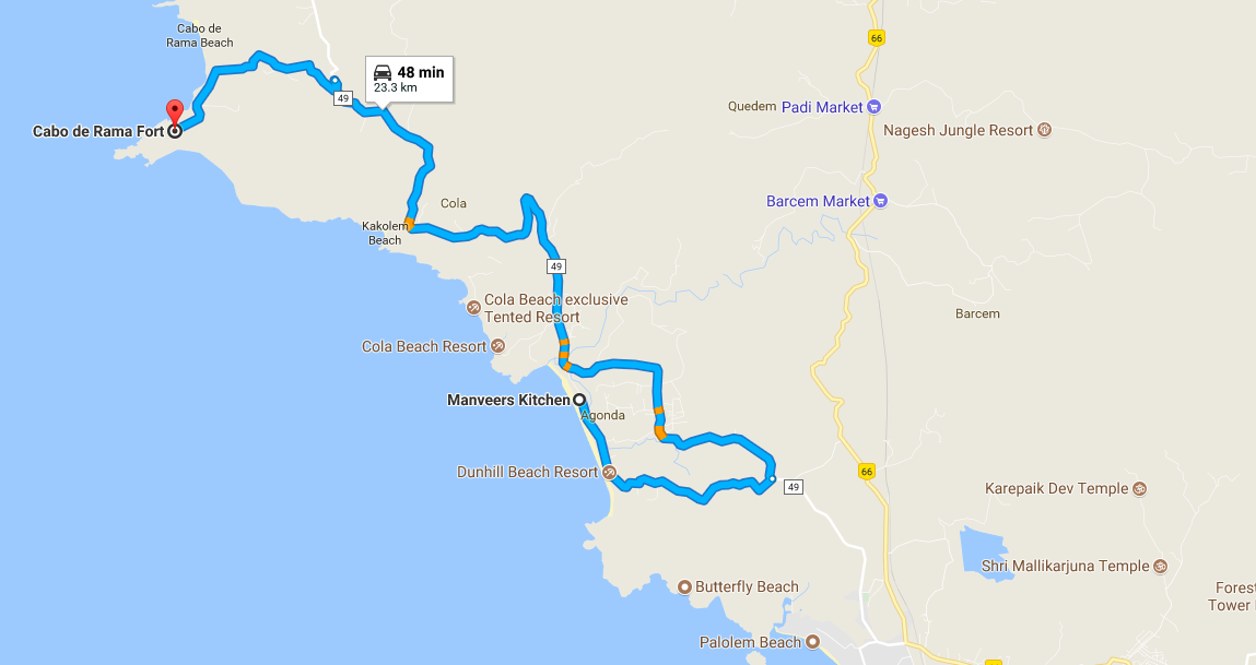 The Route Map of the trip. From Manveer's Kitchen to Cabo De Rama Fort (South Goa-India)