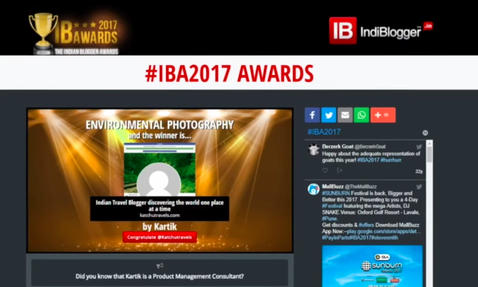 Katchutravels(Kartik Kannan) winning the #IBA Indiblogger Awards 2017 for the Environmental Photography