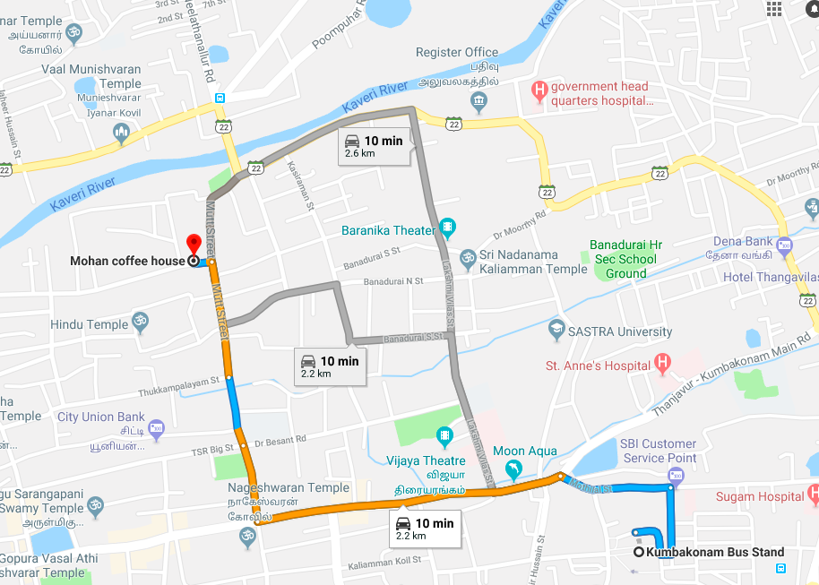 Route to Mohan Coffee Works from Kumbakonam Bus Stand