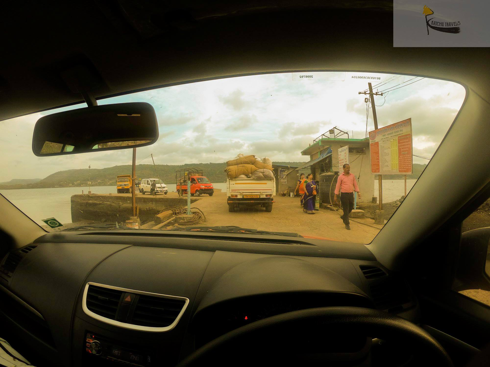 View of the Bagmandala ferry through my car
