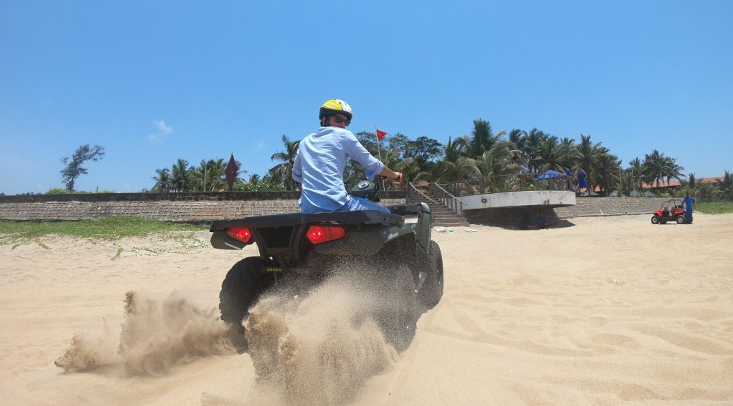 Tej kicking up a dust storm with the ATV Ride