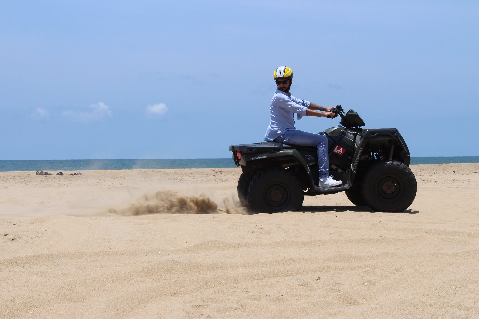 Tej driving the ATV at Mahabalipuram