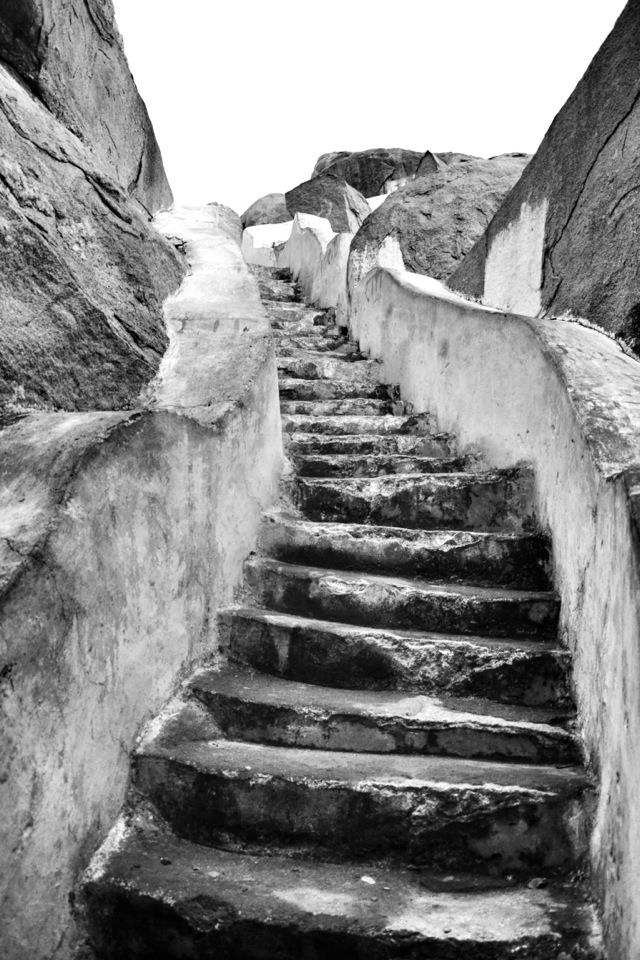 The long winding 570 step stairway to Anjanadri Hill