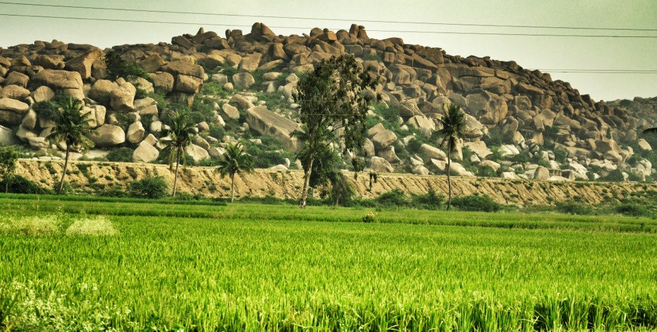 Enroute Anegundi- Beautiful fields and Boulders