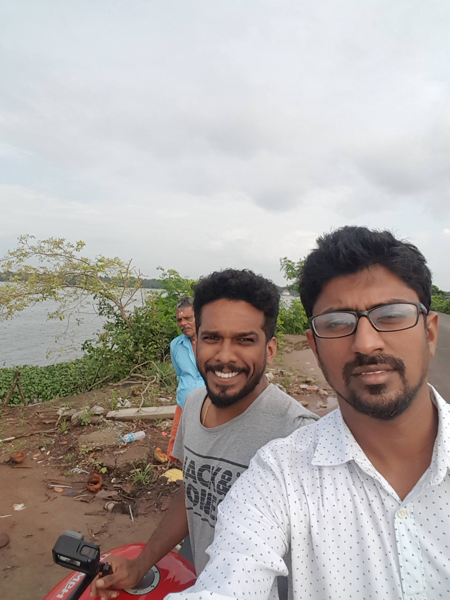 Advin and I biking to Thaneermukom