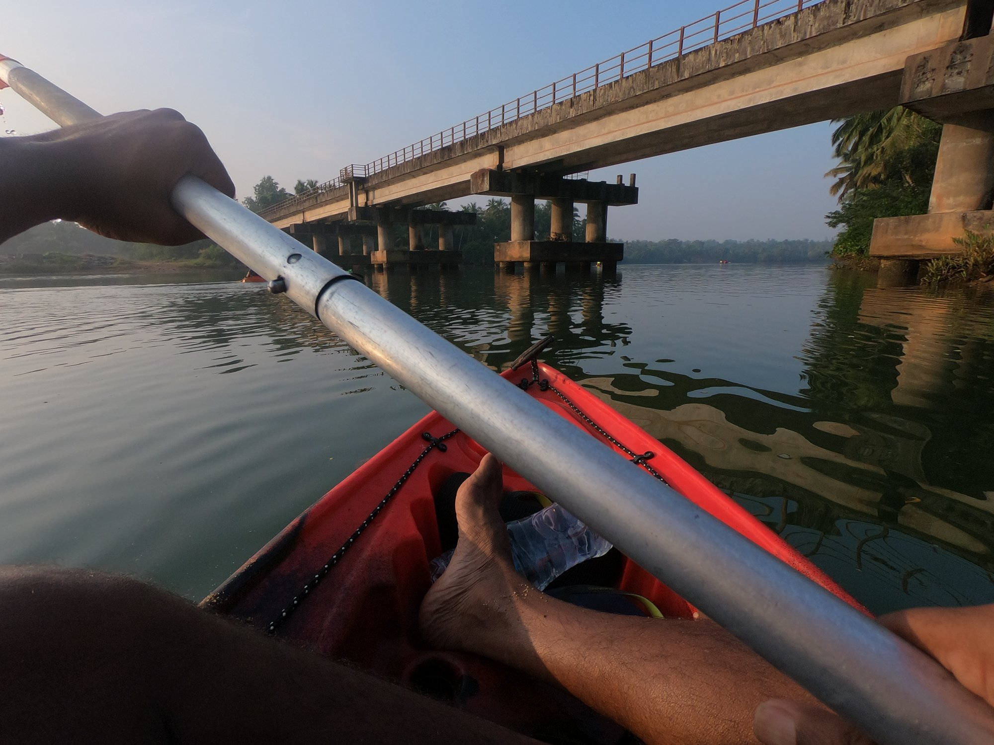 Kayaking on the Shambhavi River, passing Railway Bridges