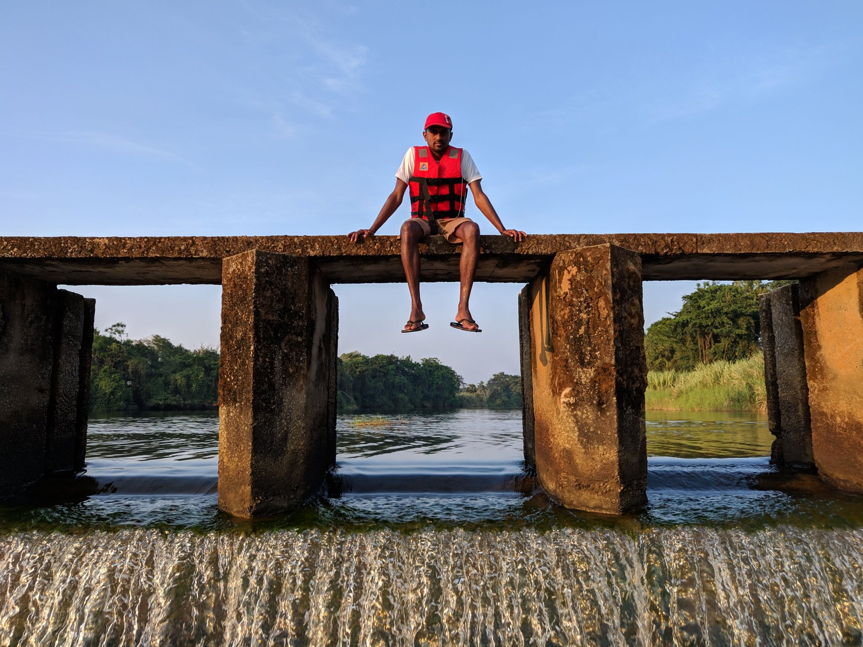 Sitting on the Check Dam in Pallimar (Mulki on the Konkan Karnataka part)