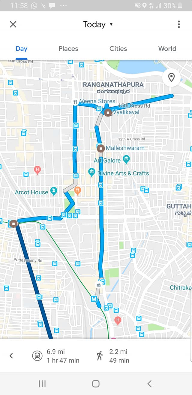 Route Map of the Bangalore Food Walk in Malleswaram