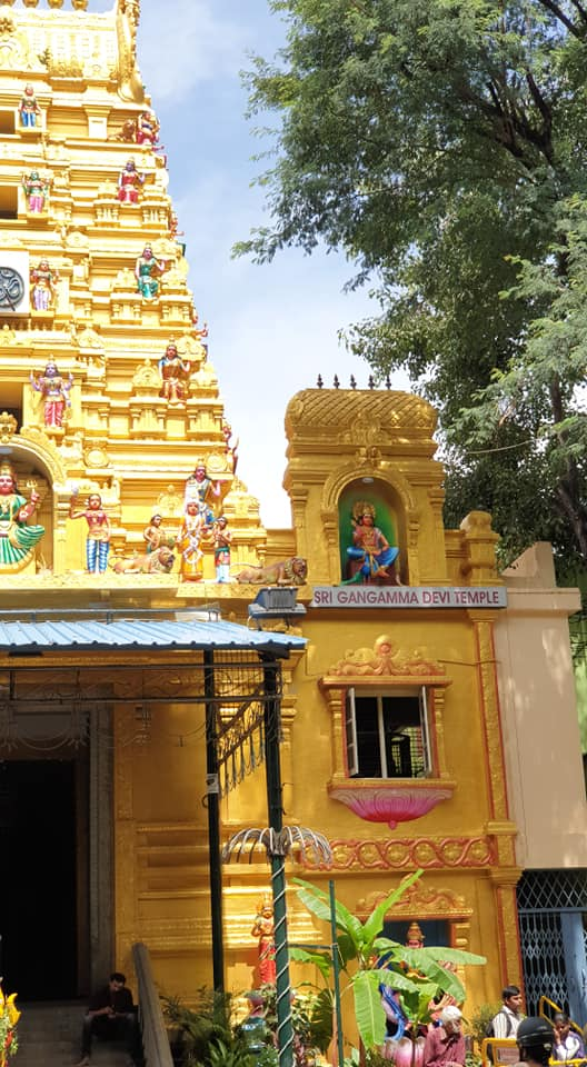 Outside view of the Gangamma Devi Temple in Malleswaram