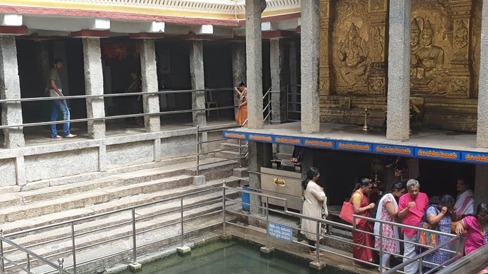 The Temple Tank, with a Nandi Statue and a Shiva Linga at the Entrance to the 400 Year Old Shiva Temple-Sri Dakshinamukha Nandi Tirtha Kalyani Kshetra in Malleswaram
