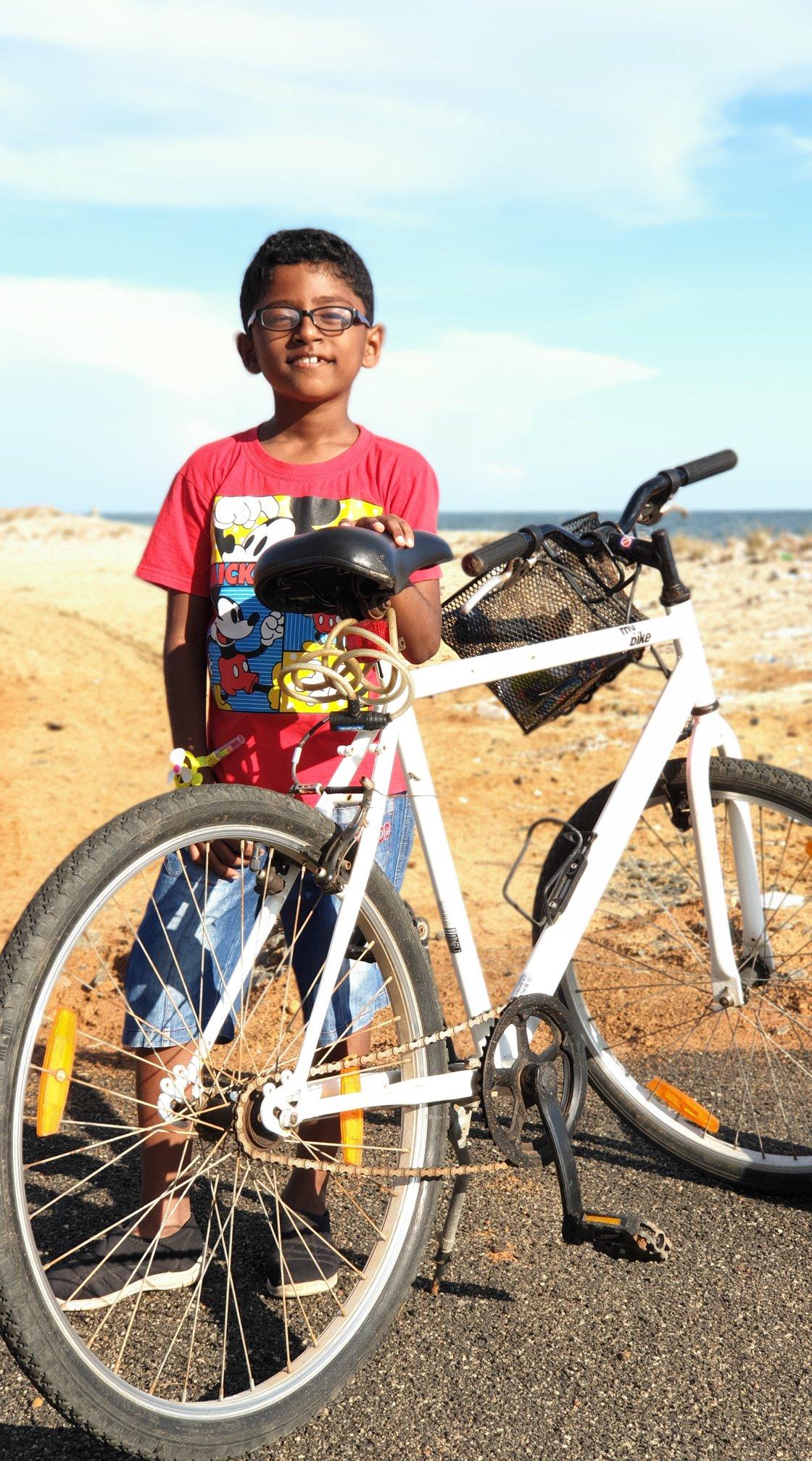 Nandu and I cycled in villages near Rameswaram