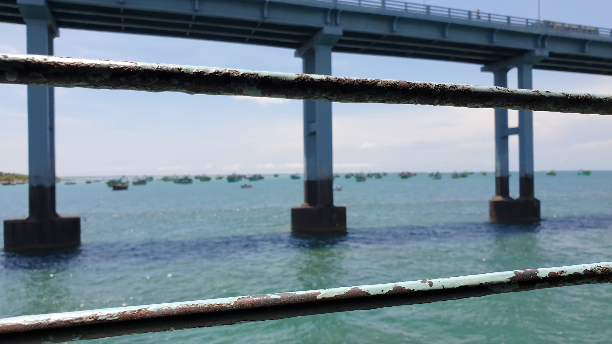 India's best Train Ride is probably the Pamban Bridge over Palk Bay in Tamil Nadu