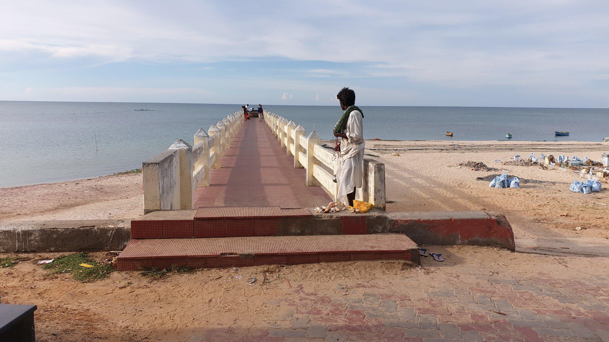 The walk-bridge to Villondi Theertham-Rameswaram