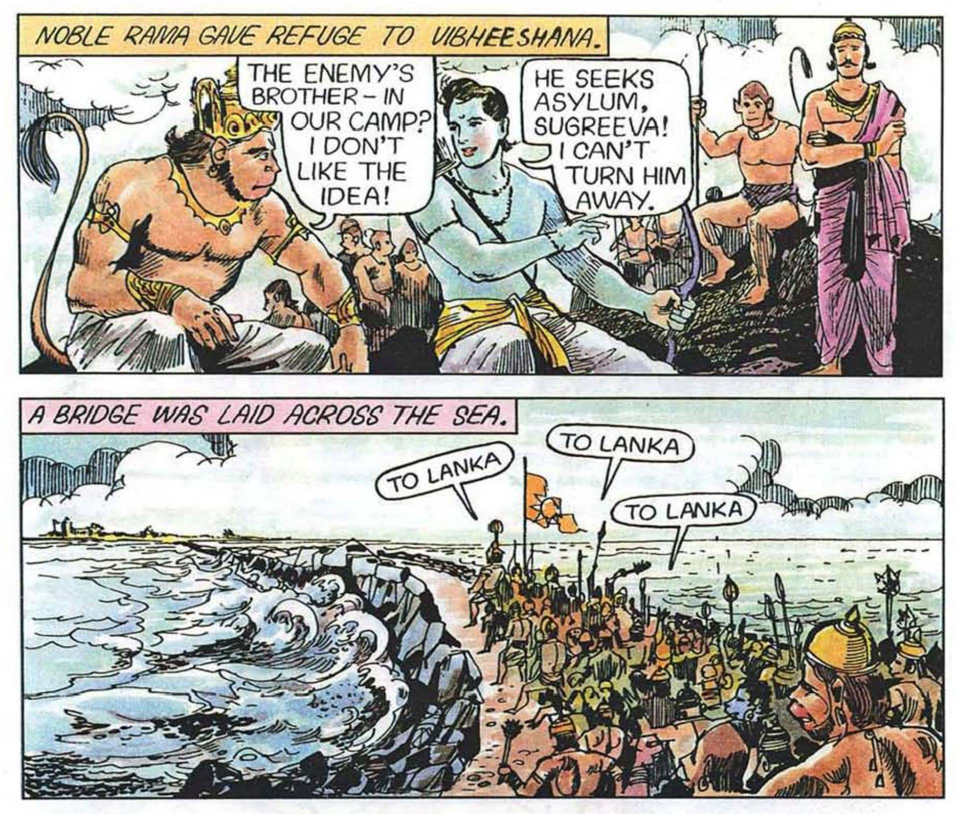 Reference to Vibeeshana made in the Ramayana at Dhanushkodi- Courtesy Amar Chitra Katha