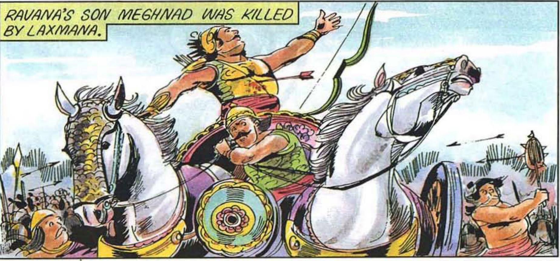 Reference of Lakshmana killing Meghnad- Courtesy Amar Chitra Katha